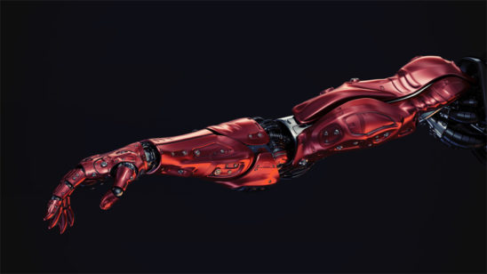 red metal robotic arm on black background