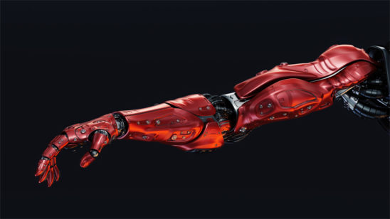 Red robotic arm