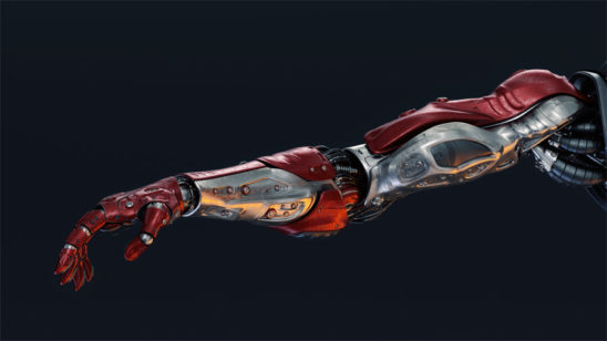 Red metal cyborg arm