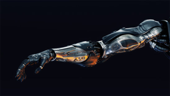 black metal cyborg arm