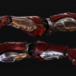 Red-silver robotic arms set