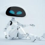 Sexy, charming white alien robot girl sitting