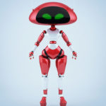 Sweet cherry ufo robotic girl character with two thin antennaes
