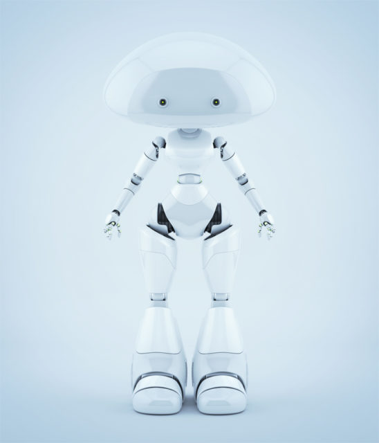 White fresh mushroom lady robot with two little eyes