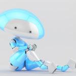 White-blue mushroom lady robot in sexy sitting pose