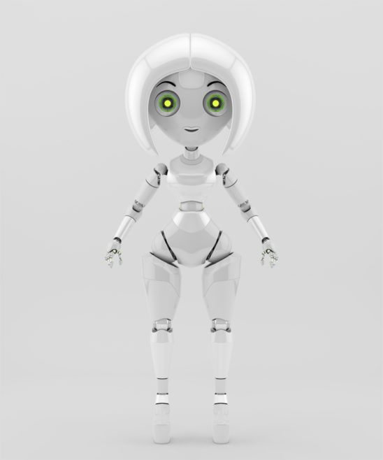 Stylish girl robotic character. White front render