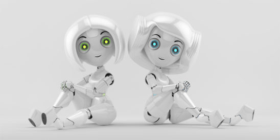 Two sitting sexy trendy girls robots with different hairstyles back to back