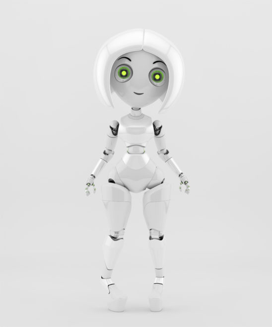 Trendy robotic girl on high heels slightly toed