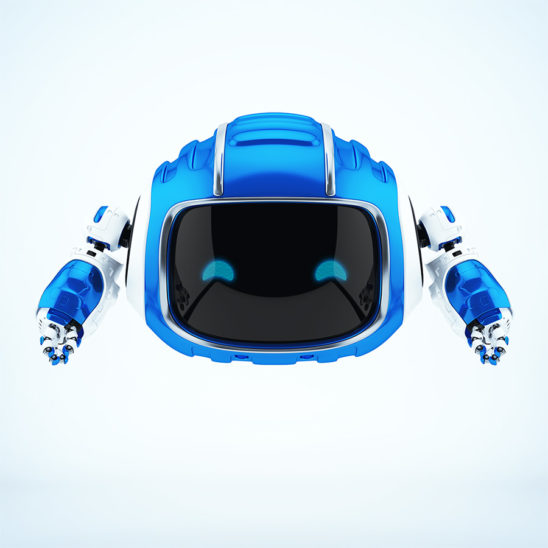 Robotic aerial creature in ultra blue color with digital face and smiling blue eyes