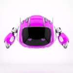 Ultra pink robotic character - Cutan, with tired eyes