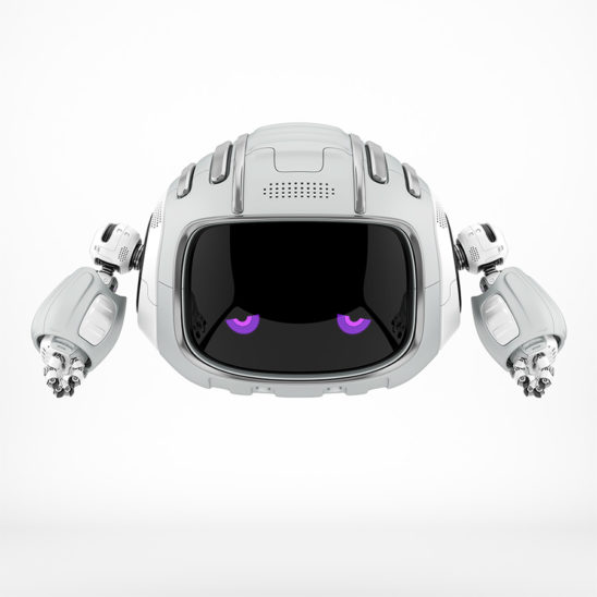 White robotic character - Cutan, with violet upset eyes