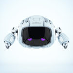 Steel robotic character - Cutan, with violet upset eyes
