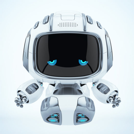 Sad robot Cutan with blue dissapointed eyes on digital face flying