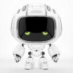 Dejected robot Cutan with sad green eyes