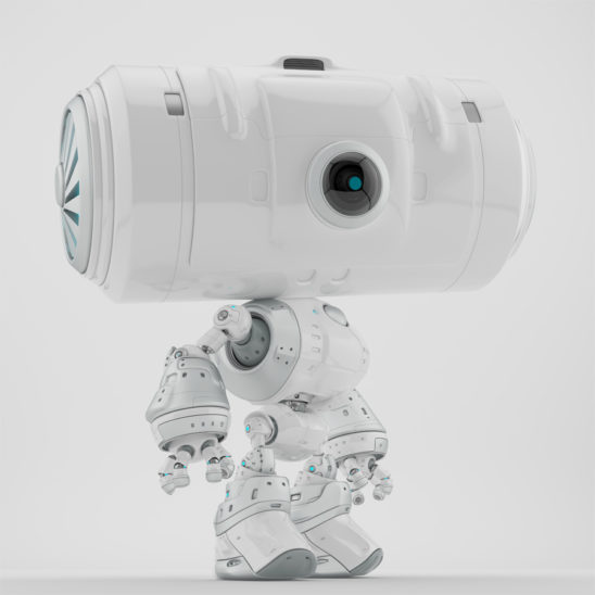 Snow white big head robot with ventilation system on barrel looking head