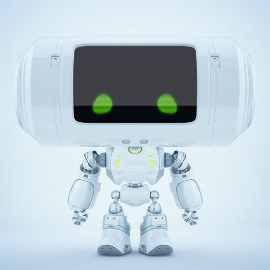White big head robot with green eyes and reflection layer