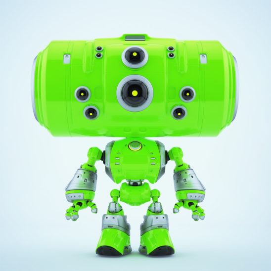 Extra bright green robot companion with big tube head and eyes cameras in different sizes
