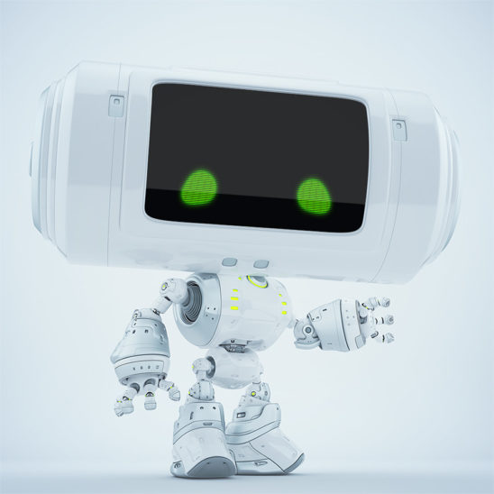 White big head robot with with green eyes gesturing