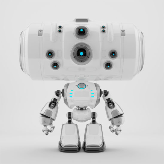 Big head robot character with eight blue eyes - cameras for monitoring purposes