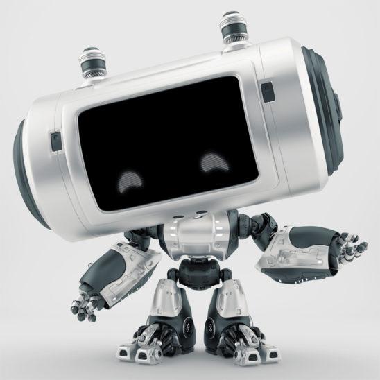 Black-silver robot with big head and smart locators