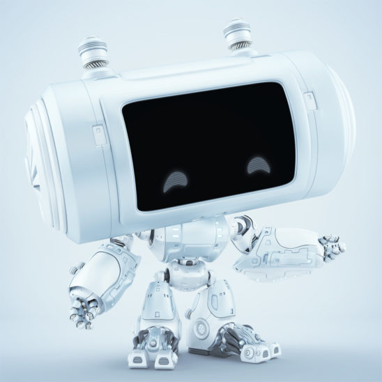 White matte robot with big head and smart locators