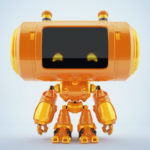 Smart orange big head robotic toy with funny little antennaes