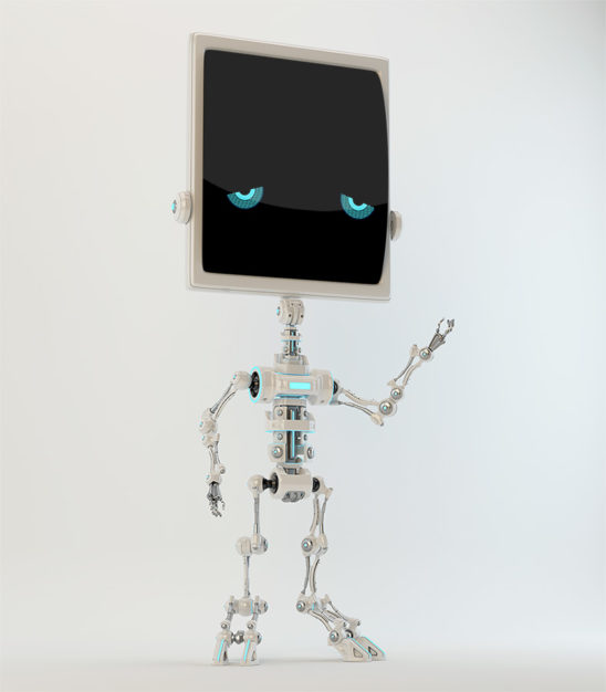 Sad bone robot with digital face and arm up