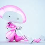 Pink-white mushroom lady robot in sexy sitting pose