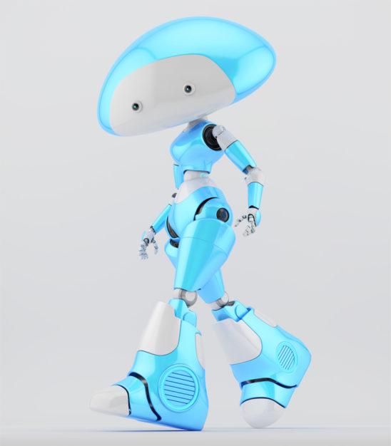 Walking blue-white mushroom lady robot