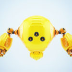 Flying yellow worker, slogger robot with multi-functional arms