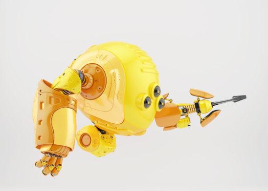 Yellow slogger robot holding screwdriver