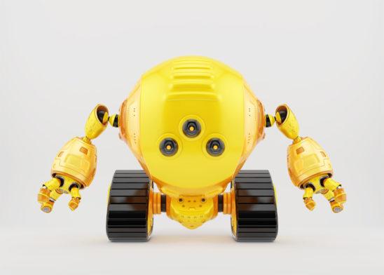 Bright yellow slogger robot on tracks with three camera eyes