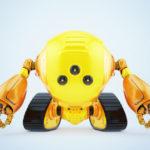 Bright slogger robot on tracks with three camera eyes