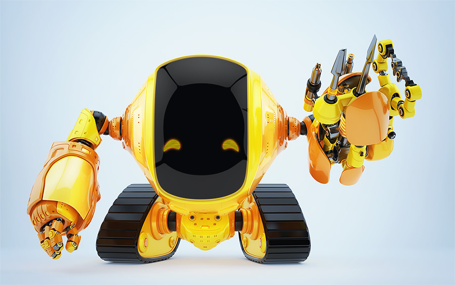 Multi-functional slogger robot on tracks with digital face and happy eyes on body head