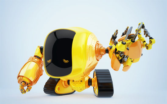 Multi-functional slogger robot on tracks with digital face and sad eyes and multi-functional arm tool