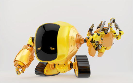 Slogger robot on tracks with digital face and sad eyes and multi-functional arm tool