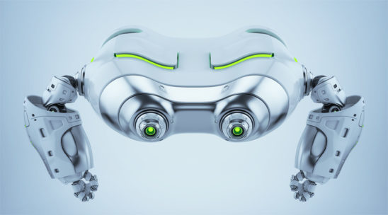 Silver look-see robot top view. Futuristic aerial creature with green illumination