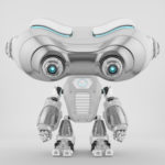 Smart look-see robot with blue eyes and illumination
