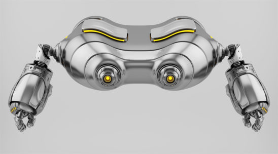 Flying silver look-see robot with yellow eyes