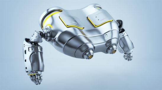 Robot binoculars in side render levitating looking down