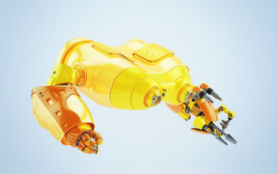 Bright orange look-see robot with multi functional instrument in profile