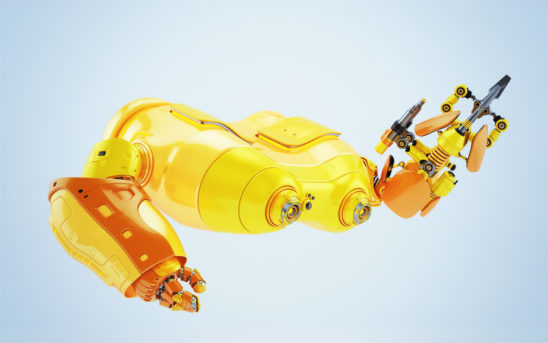 Bright orange look-see robot with multi functional arm holding instrument