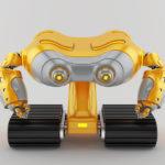 Orange-grey look-see robot on massive tracks
