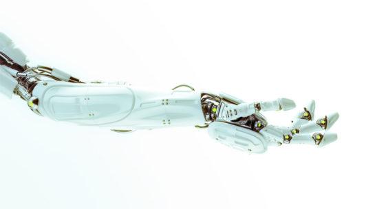 White robotic asking prosthetic robotic arm 3d render