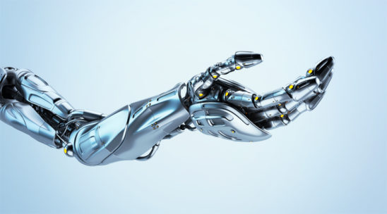 Artificial futuristic robotic arm with asking gesture