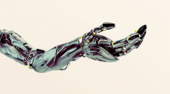 Black futuristic arm, type of bionic arm with similar functions to a human arm