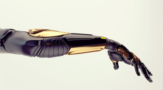 Black robotic arm with golden parts