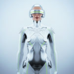 Woman robot with human face. Futuristic silver robotic woman in front render