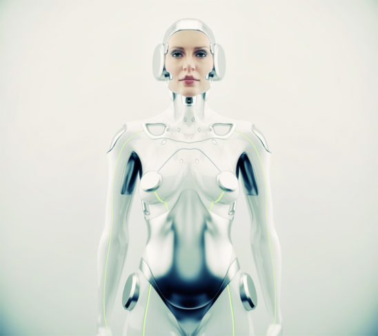 Sexy robotic woman with real face. Futuristic silver robotic woman in front render