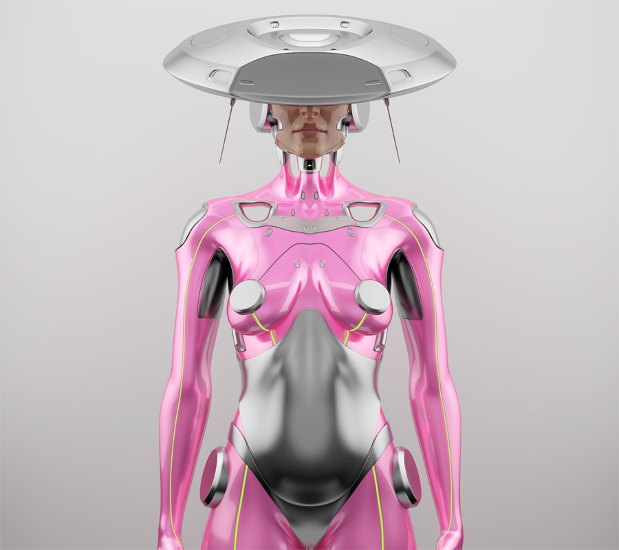 Pink robot woman with unusual hi-tech hat, front render